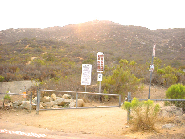 Cowles Mountain trailhead, just down the street from our house, looking up to Cowles Mountain summit.