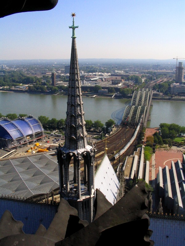 Koeln Dom: looking out over the Rhine from the South tower
